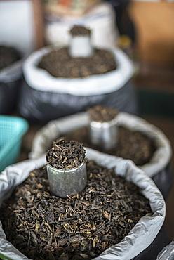 Tea leaves in Hpa An Morning Market, Kayin State (Karen State), Myanmar (Burma), Asia