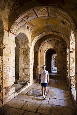 Tourist at ancient ruins of St. Nicholas Church, Antalya Province, Lycia, Anatolia, Turkey, Asia Minor, Eurasia