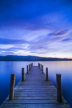 Pier on Windermere at sunset, Lake District National Park, UNESCO World Heritage Site, Cumbria, England, United Kingdom, Europe