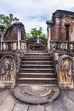 Vatadage (Circular Relic House), Polonnaruwa Quadrangle, UNESCO World Heritage Site, Sri Lanka,Asia
