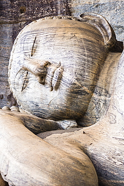 Reclining Buddha in Nirvana at Gal Vihara Rock Temple, Polonnaruwa, UNESCO World Heritage Site, Sri Lanka, Asia
