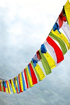 Buddhist prayer flags, Bhutan, Asia