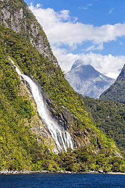Lady Bowen Waterfall in Milford Sound, Fiordland National Park, UNESCO World Heritage Site, South Island, New Zealand, Pacific