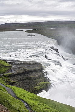 View of Gullfoss (Golden waterfall) on the Hvita River, Iceland, Polar Regions