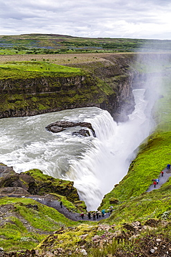 View of Gullfoss (Golden waterfall), on the Hvita Rriver, Iceland, Polar Regions