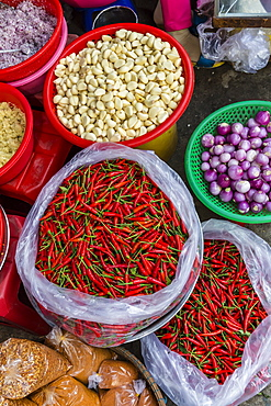 Colorful fresh produce at the local market in Chau Doc, Mekong River Delta, Vietnam, Indochina, Southeast Asia, Asia