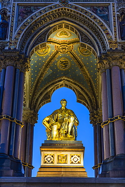 The Albert Memorial in Kensington Gardens at sundown, London, England, United Kingdom, Europe