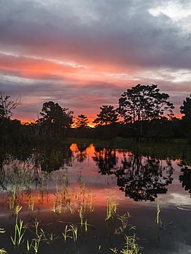 Sunset on Rio El Dorado, Pacaya-Samiria Reserve, Loreto, Peru, South America