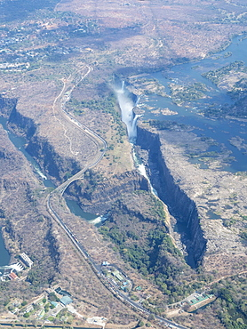 Aerial view of Victoria Falls on the Zambezi River, UNESCO World Heritage Site, straddling the border of Zambia and Zimbabwe, Africa