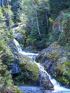 Waterfall in Lava Canyon, Mount St. Helens National Volcanic Monument, Washington State, United States of America, North America