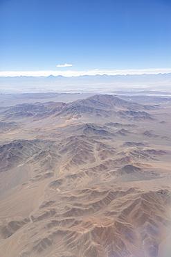 Aerial view of the Atacama Desert, Antofagasta Region, Chile, South America