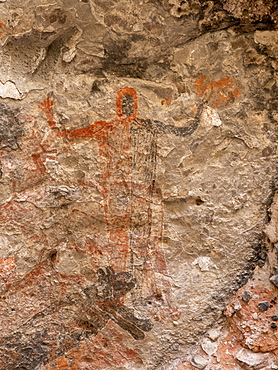 Rock art pictographs of the Cochimi people, Cueva del Raton, UNESCO World Heritage Site, Sierra de San Francisco, Baja California Sur, Mexico, North America