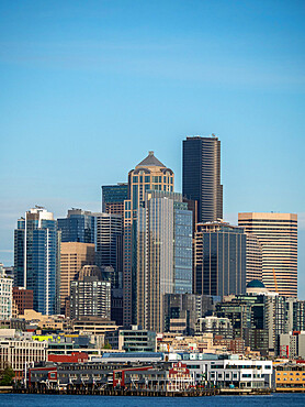 View of downtown Seattle from the harbor, Washington State, United States of America.