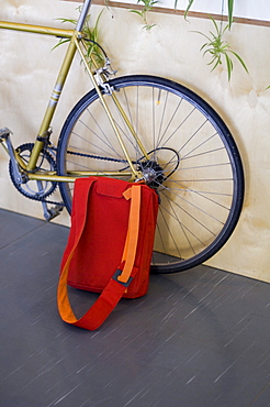 Bag leaning against bicycle