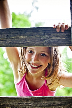 Girl on a ladder, Styria, Austria