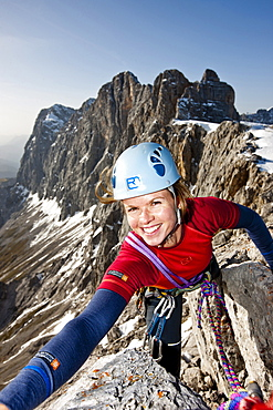 Young woman climbing, Skywalk, Dachstein mountains, Styria, Austria