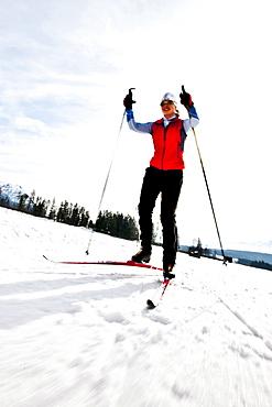 Cross-country skier, Ramsau am Dachstein, Styria, Austria