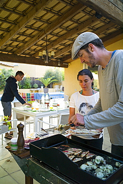 Barbecue on a terrace, Perols, Montpellier, Herault, Languedoc-Roussillon, France