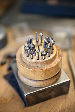Tools in a Goldsmith's workshop, handicraft, Ueberlingen, Lake Constance, Baden-Wuerttemberg, Germany