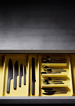 Cutlery drawer with knives, forks and spoons, Cutlery