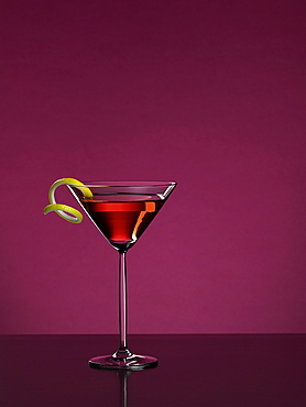 Cosmopolitan cocktail with a purple background, Cocktail, Drink