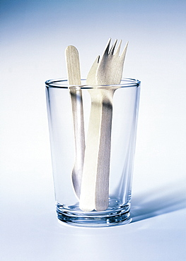 Glass with wooden cutlery, Cutlery