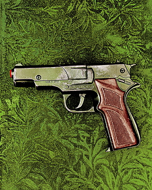 toy gun on a green background, Toy, Childhood