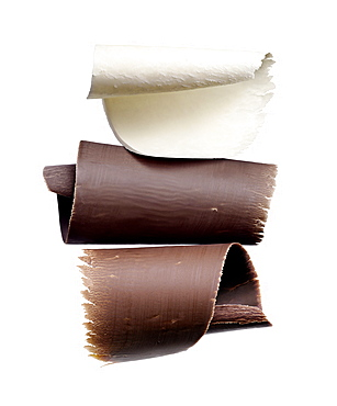 Three different types of chocolate shavings, Chocolate