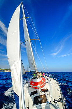 The crew consisting of young women and men sailing a sailing yacht along the northern shore of Mallorca, Balearic Islands, Spain, Europe