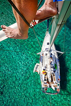 view from the masthead of an anchoring sailing yacht in a lonely bay on a greek island, Aegean, Cyclades, Greece
