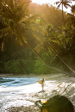 Young female surfer walking at the beach, Sao Tome, Sao Tome and Príncipe, Africa
