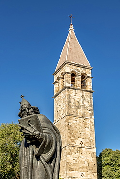 Statue of Gregory of Nin by Ivan Mestrovic in front of the Benedictine Monastery tower, Split, Croatia