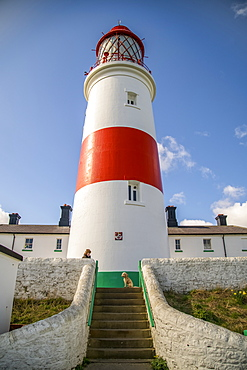 A woman with her dog at Souter Lighthouse, Marsden, South Shields, Tyne and Wear, England