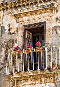 Facade of a residential building with balcony and blossoming plants, Syracuse, Sicily, Ortigia, Italy