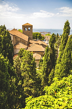Terracotta tiled roof of a building and a view of the Adriatic Sea, Trieste, Friuli Venezia Giulia, Italy