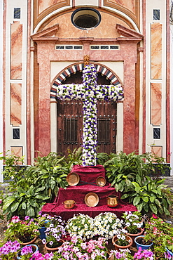 The Crosses of May, a religious symbol on a monument, Cordoba, Andalucia, Spain