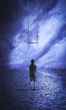 A boy stands looking up at a swing that he is too short to reach, composite image