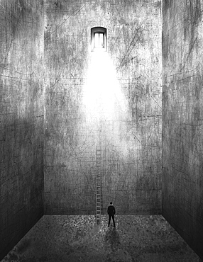 Image of a man standing in an empty room with tall walls and a ladder leading up to the sunlight streaming from a window far above, composite image