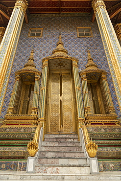 Steps to entrance of Wat Phra Kaew, Temple of the Emerald Buddha, Grand Palace, Bangkok, Thailand