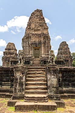 Steps leading to ruined stone temple towers, East Mebon, Angkor Wat, Siem Reap, Siem Reap Province, Cambodia