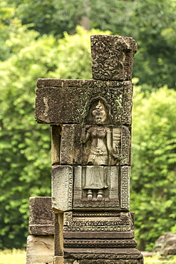 Sculpture of woman in Baphuon temple column, Angkor Wat, Siem Reap, Siem Reap Province, Cambodia
