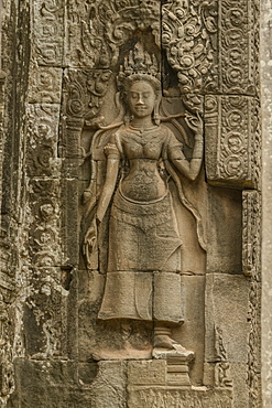 Sculpture of woman at ruined Bayon temple, Angkor Wat, Siem Reap, Siem Reap Province, Cambodia