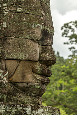 Statue of Buddha in profile at Bayon, Angkor Wat, Siem Reap, Siem Reap Province, Cambodia