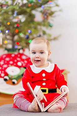 Portrait of a toddler reading a book in her festive Christmas outfit in front of the Christmas tree, Langford, British Columbia, Canada