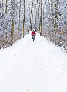 Mountain bike rider on a snowy winter trail ride, St. Albert, Alberta, Canada