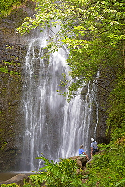 Tourists viewing Wailua Falls, Hana, Maui, Hawaii, United States of America