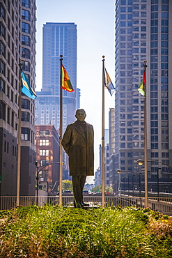 Statue of Benito Juarez in downtown Chicago, a gift of Mexico and part of the public art collection. Artist is Julian Martinez, Chicago, Illinois, United States of America