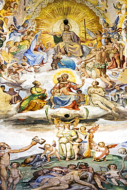 Large, colourful fresco called 'The Last Judgement' with Christ painted under the dome in the Florence Cathedral, Florence, Tuscany, Italy