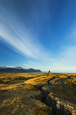 Church on lava fields at dusk, Snaefellsnes Peninsula, Budir, Iceland