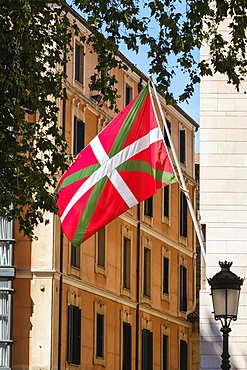 Headquarters and flag of the Basque Nationalist Party, Bilbao, Vizcaya, Pais Vasco, Spain
